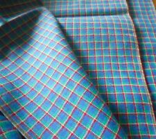 Vintage French Woven Plaid Cotton Fabric ~ Red Blue Green ~ Shirting Dolls Quilt