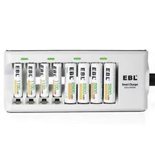 EBL 8 Bay AA/AAA Battery Charger with 4 AA 2800mAh Rechargeable Batteries & 4...