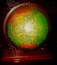 UNIQUE VINTAGE GRAMS UNRIVALED TERRESTRIAL ILLUMINATED GLOBE ATLAS BASE ERA 30s