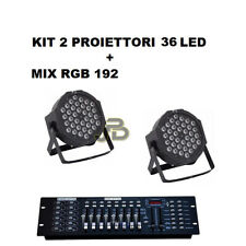 KIT FARO RGB X2 PAR LED 36 LED STROBO PROGRAMMABILE DMX + MIXER EFFETTO DISCO