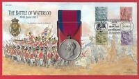 Waterloo REPLICA Medal 2001 GB Stamp Cover British Army Battle of Waterloo 1815