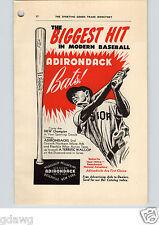 1952 PAPER AD Adirondack Al Alvin Dark Baseball Bat  White Ash