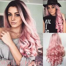 Hot Women Long Synthetic None Lace Front Ombre Wig Long Curly Pink Cosplay Wigs