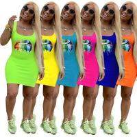 Women sleeveless colorful lips print casual club party cute summer mini dress