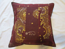 Indian Sari Patchwork Sequin Embroidered Cotton Cushion Cover Burgundy Gold 16""