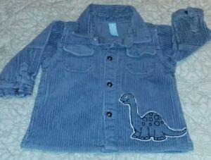 Boys Blue Corduroy Shirt Dinosaur Dino 18 Months Long Sleeve Button Up VINTAGE