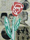 "Donald Baechler ""flower"" 1994 Screenprint w. Collage HAND SIGNED American Artist"