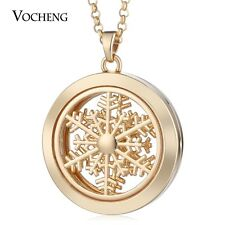 3 colors 35mm Alloy Magnetic Snowflake Diffuser Oil Necklace with pads VA-351