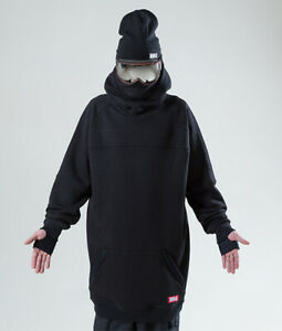 Men's NM4 oversized Hoodie Extra Tall Snowboard Ski Sweater Black