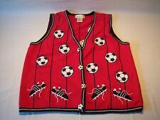 Vintage 80's Mandal Bay Soccer Ball Patched Sweater Vest Women's Size XL