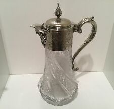 Quality Victorian Silver Plate Cut & Etched Glass Claret Jug c.1890