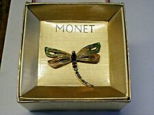 """Vintage Fabulous dragonfly Brooch  signed MONET Mint in box  2"""" wide"""