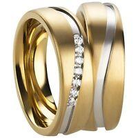 Trauringe Verlobungsringe Eheringe aus Edelstahl mit Zirkonia Ringe Gravur 3219