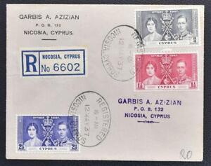 CYPRUS 1937 Cpl KGVI Coronation Set on Reg Cover/FDC NICOSIA to..., LOOK,England
