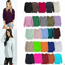 Unbranded Women's No Pattern Scoop Neck Jumpers & Cardigans