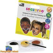 SNAZAROO LEOPARD & LION THEME FACE PAINTING KIT SET - fancy dress make-up
