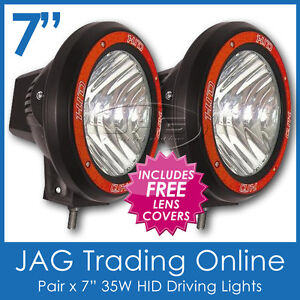 PAIR 35W HID XENON OFF ROAD DRIVING LIGHTS 7 INCH - EURO BEAM & CLEAR COVERS