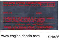Snapper mowers Serial No. decal 1982 and up Fuqua