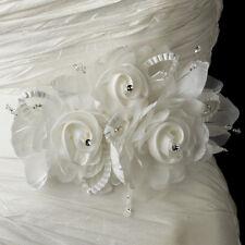 Bridal FLORAL SASH Organza Flowers w/ RHINESTONES & Austrian Crystals on Ribbon