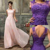 Formal Lace Wedding Evening Party Dress Cocktail Gown Long Bridesmaid Prom Ball