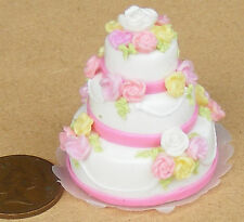 1:12 Scale Pink & White 3 Tier Wedding Cake Dolls House Miniature Accessory N