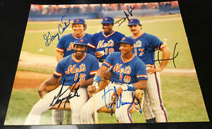 1986 🔥 Mets team signed Gary Carter Gooden Strawberry Foster Hernandez Auto F51