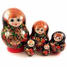 Poupée Russe 5 pièces cadeau collection, Poupée Russe Matriochka - Khokhloma