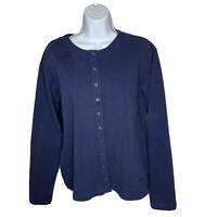 Womens Patagonia Cardigan Sweater Size Medium Navy Blue Long Sleeve