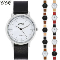 Women's Men Simple Casual Quartz Analog Silver Watch Leather Band Wrist Watches