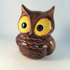 "Owl Glazed Pottery Signed Cathy Ryan  6"" x 5"""