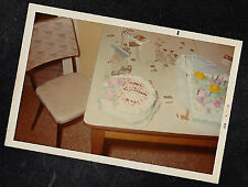 Vintage Photograph Two Birthday Cakes Setting on Retro Table In Kitchen