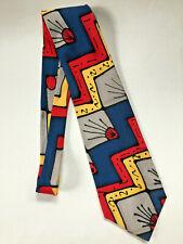 ROBERT DASKAL Art Deco Abstract Colorful 100% Silk Necktie - Made in USA