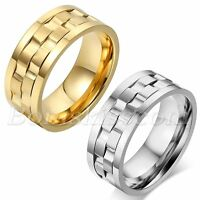 Men Unique 9mm Comfort Fit Stainless Steel Spinner Rotatable Ring Band Size 7-12