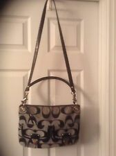 COACH Poppy Moonlight Silver Metallic C's Hippie Pocket Patent Leather Bag