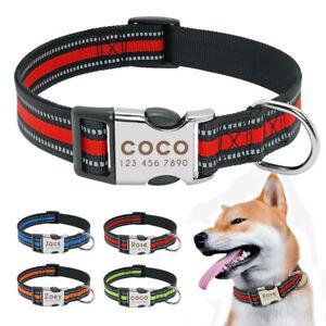 Reflektierend Hundehalsband mit Namen und Telefonnummer Graviert Nylonhalsband