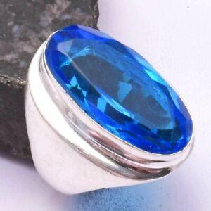 Blue Topaz Ethnic Handmade Men's Ring Jewelry US Size-8.5 AR 43688