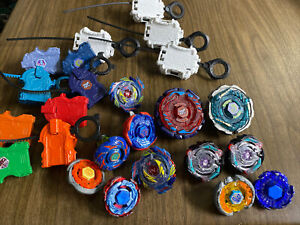 Large Lot Of  Beyblade and Launchers And Parts Assorted Metal Plastic 12 Of Them