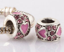 2pcs silver love Pink LAMPWORK CZ spacer beads fit Charm European Bracelet #B968