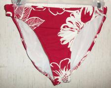 NEW  WOMENS JANTZEN MAROON RED W/ WHITE FLORAL BIKINI SWIMSUIT BOTTOM   SIZE 12