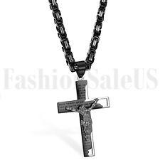 Stainless Steel Men's English Bible Verse Jesus Crucifix Cross Pendant Necklace