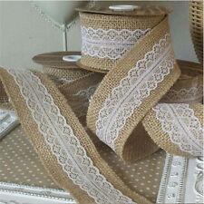 "10M Jute Burlap Natural Hessian Ribbon With Lace Trim Edge Wedding Rustic DIY 2"""