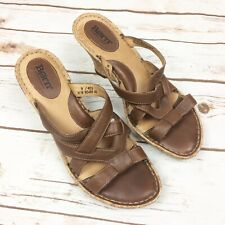 4aa21c461bf Born Women s Size 9 Brown Leather Slip On Espadrille Cork Wedge Sandals  W5489