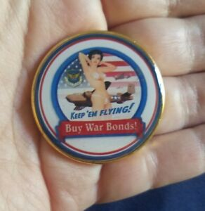 United States Air Force Keep 'Em Flying Buy War Bonds Bikini Challenge Coin