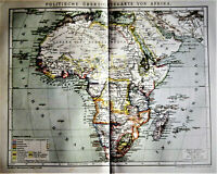 1894.Antica Mappa Geo-Topografica Politica Panoramica dell'AFRICA.Brockhaus.ETNA
