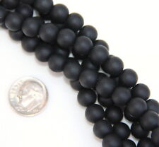 8mm Round Cultured Sea Glass Beach Glass Beads~JET BLACK~26 PIECES