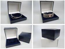 Reloj Pulsera Caja Azul Imitación Terciopelo Dorado Ribete Caja Joyería