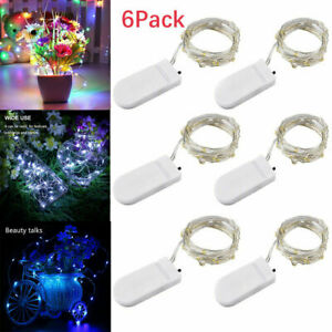 6 Pack 20 LED Battery Micro Rice Wire Copper Fairy String Lights Party Decor