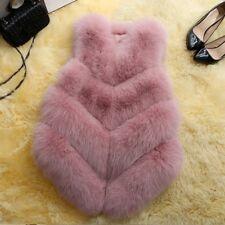 Lady Women Short Slim Vest Gilet Outwear Warm Faux Fox Fur Waistcoat Jacket Coat