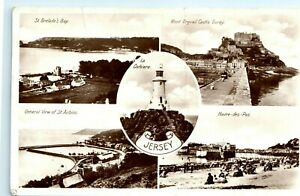 POSTCARD JERSEY BLACK AND WHITE COLLAGE REAL PHOTOGRAPHS POSTED