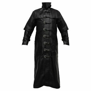 Mens Real Black Leather Van Helsing Duster Full Length Coat